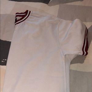White/Red Pacsun Mesh Shirt.